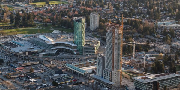 85613277 - aerial view of surrey central with new highrise construction. picture taken in british columbia, canada.