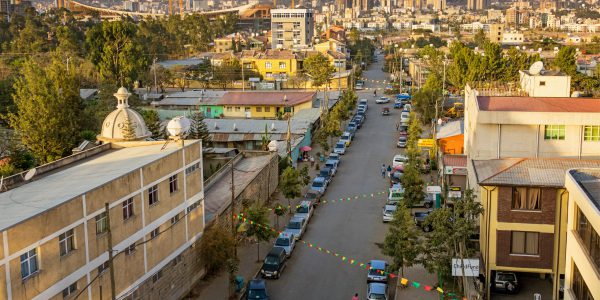 Stock photograph of a residential district in Addis Ababa Ethiopia on a sunny day.