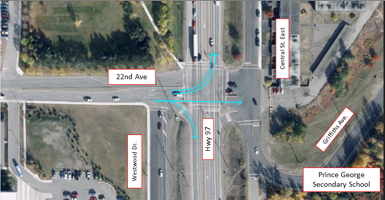 Figure 1. Aerial view of the intersection of Hwy 97 and 22nd Ave in Prince George, BC