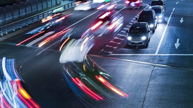 night traffic scene of street near JR Harajyuku Station